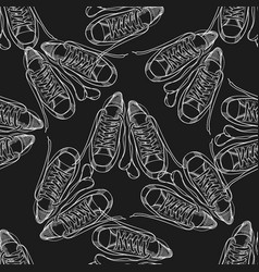 seamless pattern with sneakers and shoelaces hand vector image