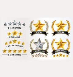 set customer feedback 5 star rating vector image