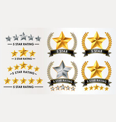 set of customer feedback 5 star rating vector image