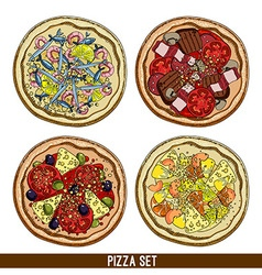 Set of four pizzas vector