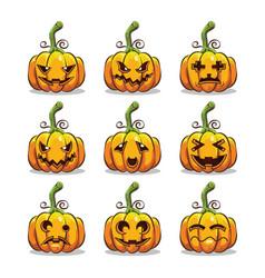 Set of halloween scary pumpkins vector