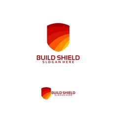 Shield logo designs concept home secure logo vector