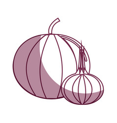 Silhouette pumpkin and onion healthy delicious vector