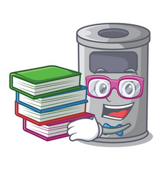 Student with book cartoon steel trash can in the vector