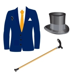 Suit and hat with walking stick vector