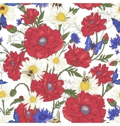 Summer Vintage Floral Seamless Pattern with vector image