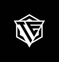 te logo monogram with triangle and hexagon shape vector image