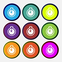 The stopwatch icon sign Nine multi colored round vector image