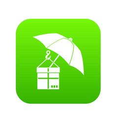 umbrella and a cardboard box icon digital green vector image