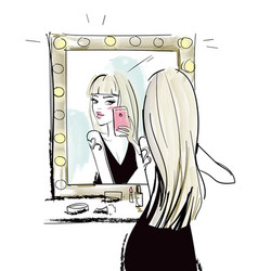young blonde woman makes selfie with mirror vector image