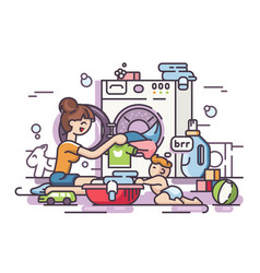 young mother washing vector image