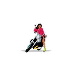 Young sexy woman sitting on motorcycle vector