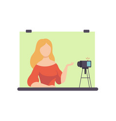 Young woman blogger creating content and posting vector
