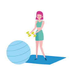 Young woman with dumbbells and fitball mat vector