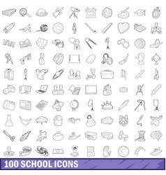 100 school icons set outline style vector image