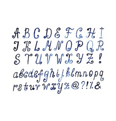 Blue watercolor alphabet Hand drawn artistic font vector image