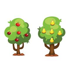 cartoon pear and apple tree vector image