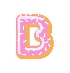 letter b donut font doughnut alphabet sweet vector image vector image