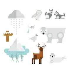 Wild north arctic animals symbols vector image vector image
