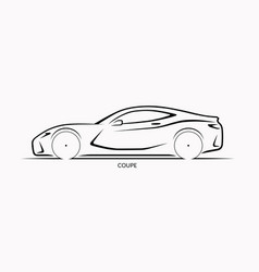 car silhouette side view of sports coupe vector image