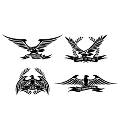 Eagle heraldic labels with laurel wreaths shields vector image