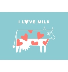 Happy cow with udder and red heart full of milk vector image