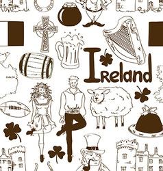 Irish symbols seamless pattern vector image vector image