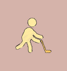 silhouette of athlete practicing hokey in vector image vector image