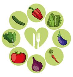 vegetables healthy food ingredient vector image vector image
