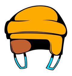 yellow hockey helmet icon icon cartoon vector image vector image