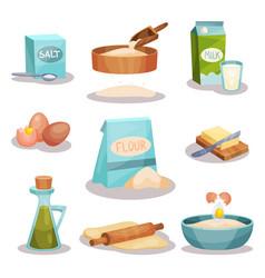 bakery set kitchen utensils and food ingredients vector image