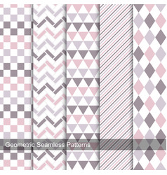 Collection of delicate seamless patterns vector