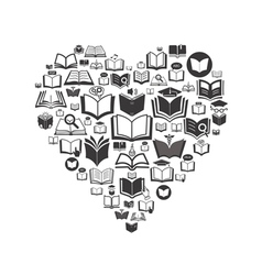 Set of book icons Conceptual background vector image