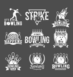 set of bowling emblems labels badges an vector image vector image