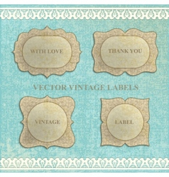 set vintage labels with flowers vector image vector image