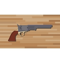 civil war pistols gun with wood table background vector image