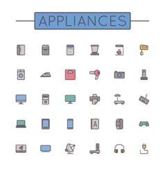 Colored Appliances Line Icons vector image vector image
