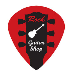 guitar headstock in guitar pick with rock guitar vector image