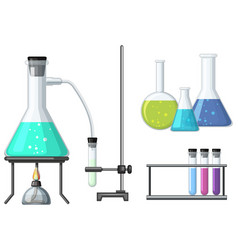 science beakers with burner vector image vector image