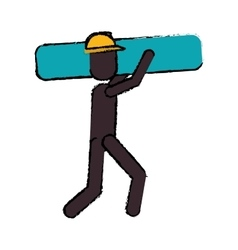 Worker contruction carries material graphic vector