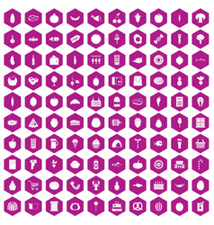 100 grocery shopping icons hexagon violet vector