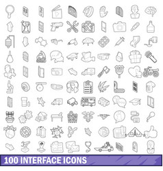 100 interface icons set outline style vector