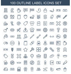 100 label icons vector image