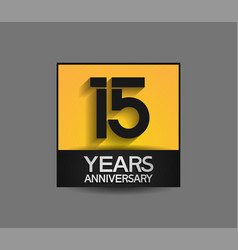 15 years anniversary in square yellow and black vector