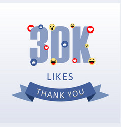30k likes thank you number with emoji and heart vector