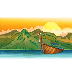 A boat floating vector image