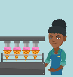 African worker of factory producing ice-cream vector