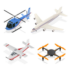 Air crafts set isometric view vector