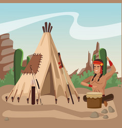 American indian at village vector