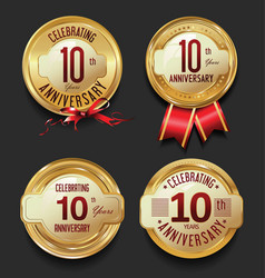Anniversary retro golden labels collection 10 vector